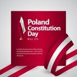 Ejemplo del diseño de la plantilla del vector de la bandera del día de la constitución de Polonia ilustración del vector