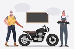 Ejemplo del diseño de personaje de dibujos animados Motorista que monta una motocicleta libre illustration