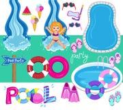 Ejemplo del diseño del vector de la fiesta en la piscina imagen de archivo libre de regalías