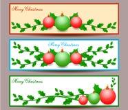 Ejemplo del diseño determinado de las banderas de la Feliz Navidad Foto de archivo libre de regalías