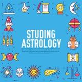 Ejemplo del diseño del esquema de los iconos de la casa de la astrología Línea fina concepto de los artículos del horóscopo Dispo Ilustración del Vector
