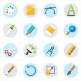 Ejemplo del diseño gráfico de los iconos planos y del vector de los iconos de la creatividad Imagen de archivo libre de regalías