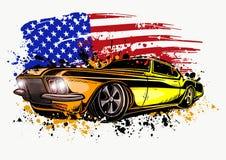 Ejemplo del diseño gráfico de vector de un coche americano del músculo libre illustration