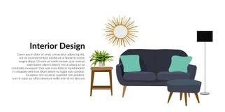 Ejemplo del diseño interior del vector decoración de la casa del hogar de la sala de estar de los muebles Imagen de archivo