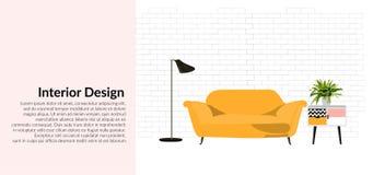 Ejemplo del diseño interior del vector decoración de la casa del hogar de la sala de estar de los muebles Imágenes de archivo libres de regalías