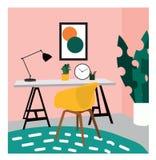Ejemplo del diseño interior del vector imagen del estudio de la oficina silla, escritorio y lámpara Dibujo lindo muebles Fotografía de archivo