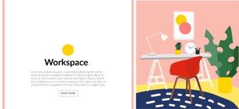 Ejemplo del diseño interior del vector imagen del estudio de la oficina silla, escritorio y lámpara Dibujo lindo muebles Imagenes de archivo