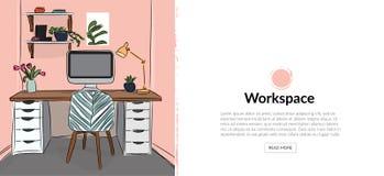 Ejemplo del diseño interior del vector imagen del estudio de la oficina silla, escritorio y lámpara Dibujo lindo muebles Foto de archivo libre de regalías