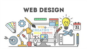 Ejemplo del diseño web con los iconos libre illustration