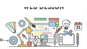 Ejemplo del diseño web con los iconos stock de ilustración