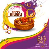 Ejemplo del diya adornado en oferta feliz de la venta de las compras de Diwali stock de ilustración