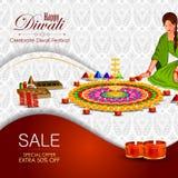 Ejemplo del diya adornado para el fondo feliz del día de fiesta de Diwali ilustración del vector