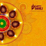 Ejemplo del diya adornado para el fondo feliz del día de fiesta de Diwali stock de ilustración