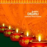 Ejemplo del diya adornado para el fondo feliz del día de fiesta de Diwali libre illustration