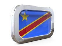 Ejemplo del dr Congo Button Flag 3D stock de ilustración