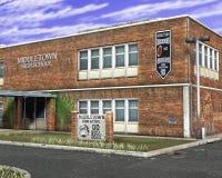 Ejemplo del edificio de la High School secundaria Fotografía de archivo