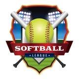 Ejemplo del emblema de la liga del softball stock de ilustración