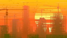 Ejemplo del emplazamiento de la obra con la grúa y del edificio en el sol stock de ilustración