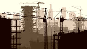 Ejemplo del emplazamiento de la obra con la grúa y el edificio. stock de ilustración