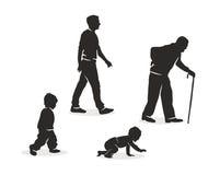 Ejemplo del envejecimiento humano. stock de ilustración