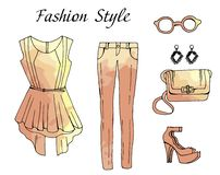 Ejemplo del equipo del dibujo de bosquejo de la moda stock de ilustración