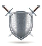 ejemplo del escudo y de la espada stock de ilustración