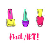 Ejemplo del esmalte de uñas Imagen de archivo