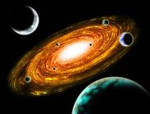 Ejemplo del espacio del planeta de la galaxia del fuego Imagenes de archivo