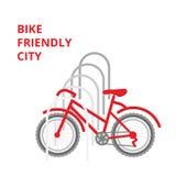 Ejemplo del estacionamiento de la bici libre illustration