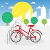 Ejemplo del estacionamiento de la bici ilustración del vector