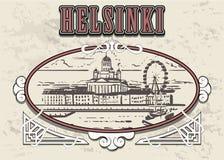 Ejemplo del estilo del bosquejo de Helsinki en marco del vintage ilustración del vector