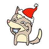 ejemplo del estilo del cómic de un lobo hambriento que lleva el sombrero de santa ilustración del vector