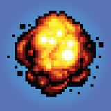 Ejemplo del estilo del juego del arte del pixel de la explosión de la explosión Fotografía de archivo