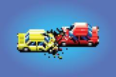 Ejemplo del estilo del juego del arte del pixel del accidente del choque de coche Imagenes de archivo