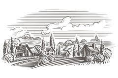 Ejemplo del estilo del grabado del paisaje del campo Vector acodado Fotos de archivo libres de regalías