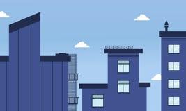Ejemplo del estilo plano de los edificios de la ciudad Fotografía de archivo