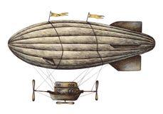 Ejemplo del estilo del vintage del globo del aire caliente stock de ilustración