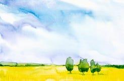 Ejemplo del extracto de la acuarela de un campo ruso con un bosque en el fondo libre illustration