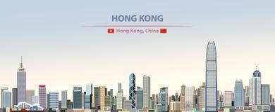 Ejemplo del extracto del vector del horizonte de la ciudad de Hong Kong en fondo diurno hermoso de la pendiente colorida stock de ilustración