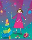 Ejemplo del feliz cumpleaños de los globos del regalo y Foto de archivo libre de regalías