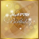 Ejemplo del feliz cumpleaños con la luz y las burbujas Fotografía de archivo