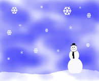 Ejemplo del fkake de la nieve con el muñeco de nieve foto de archivo