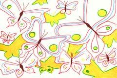 ejemplo del fondo de la acuarela Mariposas de la acuarela en un fondo blanco stock de ilustración