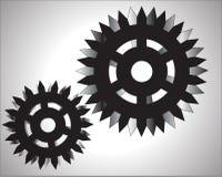 Ejemplo del fondo del blanco del sistema de las ruedas de engranaje Fotografía de archivo