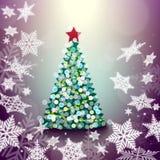 Ejemplo del fondo del extracto del árbol de navidad con el snowflak ilustración del vector