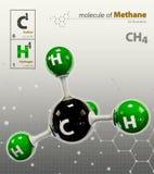 Ejemplo del fondo gris aislado molécula del metano Fotos de archivo libres de regalías
