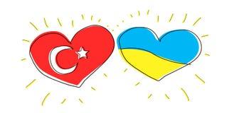Ejemplo del garabato: amistad entre Turquía y Ucrania Bandera de país Turism popular del símbolo Imagenes de archivo