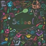 Ejemplo del garabato de los objetos de la escuela La tiza coloreada resumió el ejemplo de los elementos del diseño, fondo de la p Fotografía de archivo libre de regalías