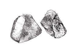 Ejemplo del garabato del bosquejo de Onigiri Bola de arroz japonesa del triángulo stock de ilustración
