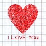 Ejemplo del garabato del corazón de mimbre hecho a mano imagen de archivo